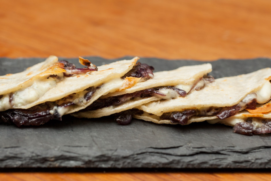 ep100 - blue cheese & red onion quesadilla