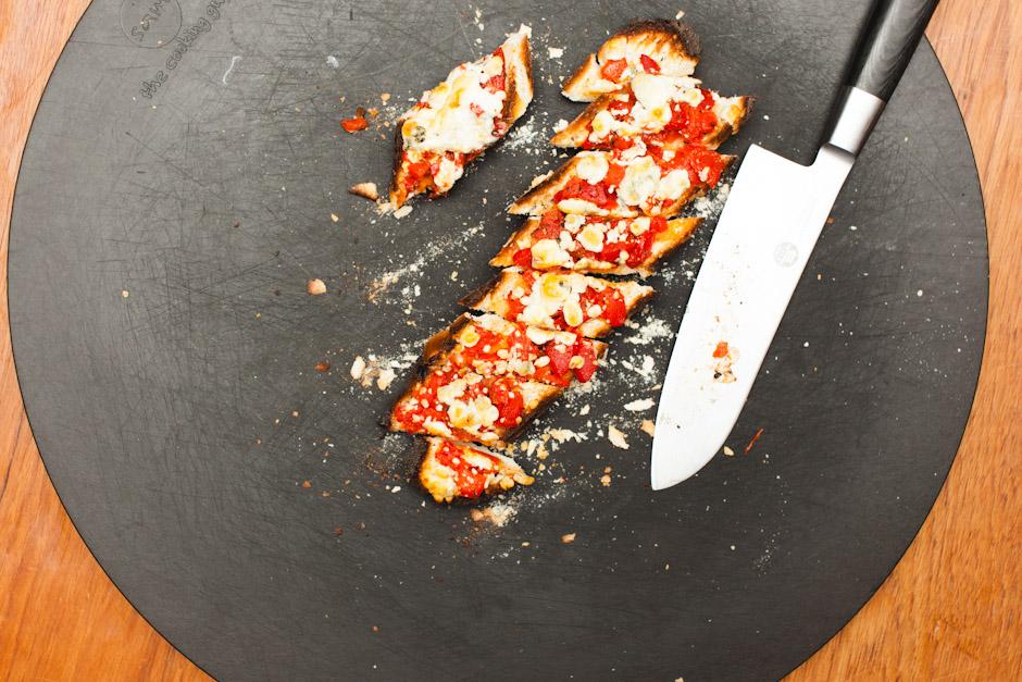 red pepper and blue cheese bruschetta