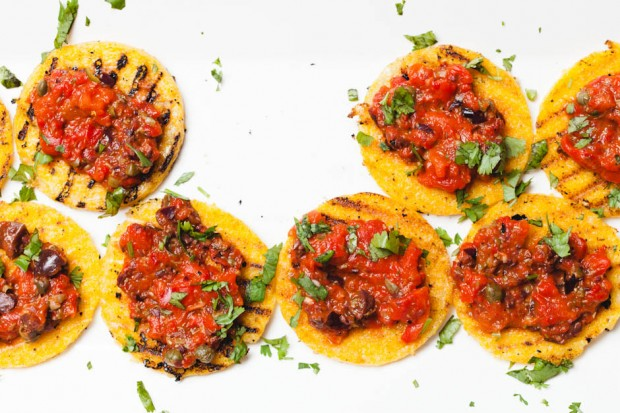 roasted red pepper on grilled polenta