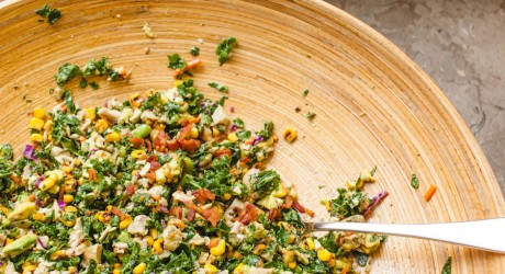 chopped kale and roasted corn salad