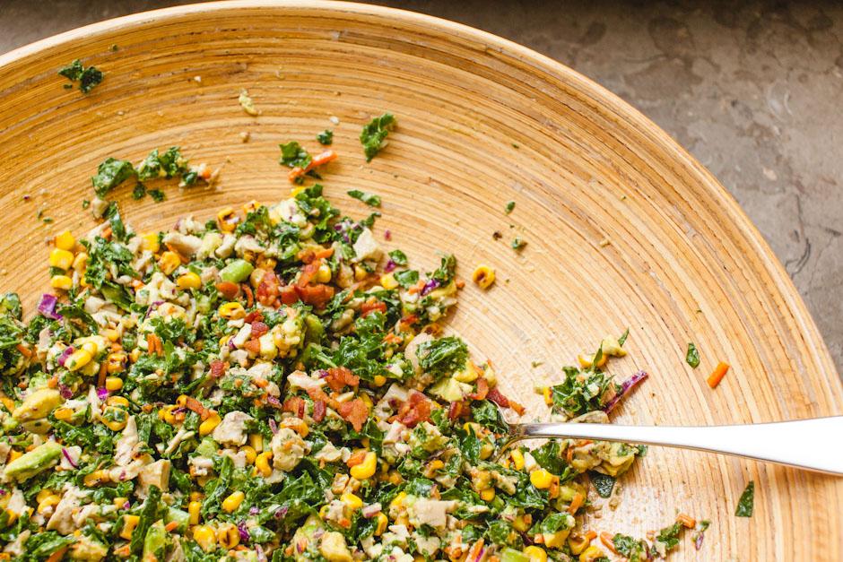 chopped kale and roasted corn salad
