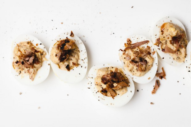 the sam livecast smoked pork deviled eggs