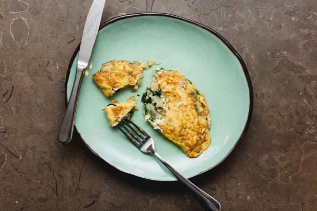 the sam livecast - boursin cheese spinach onion omelette