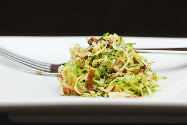 the sam livecast - shaved brussels sprouts with bacon and dijon vinaigrette