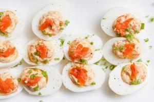 smoked salmon deviled eggs - the sam livecast