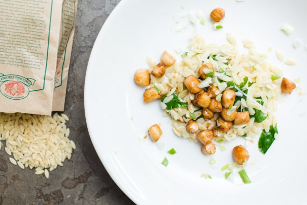 orzo and watercrest with scallops - the sam livecast