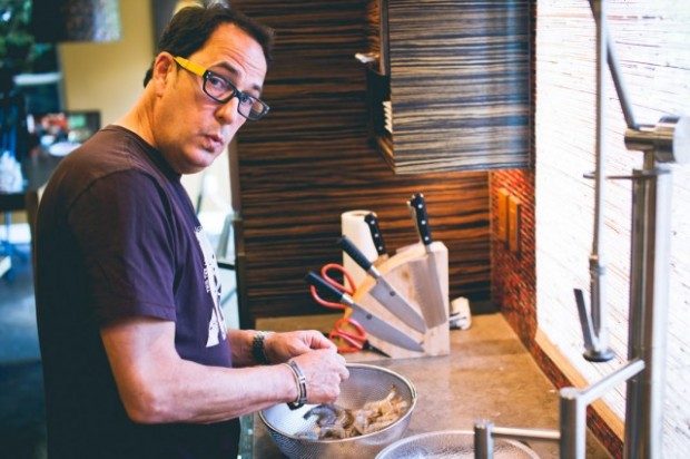 sam making shrimp tacos - the sam livecast
