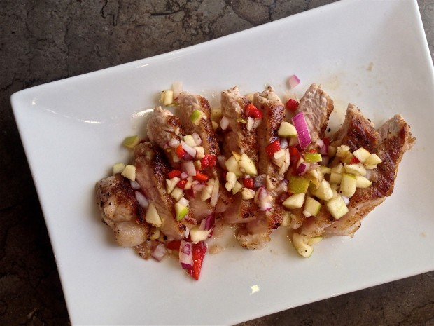 grilled pork with apple salsa 1 - the sam livecast
