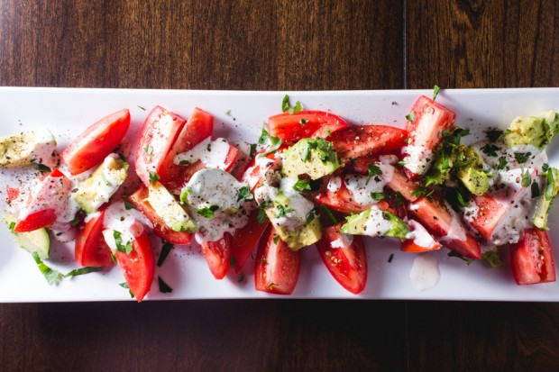 avocado and tomato salad with buttermilk dressing - the sam livecast