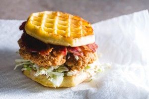 chicken and waffle sandwich - the sam livecast