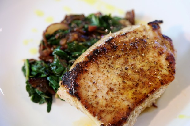 10 minute Pork Chop with Sautéed Swiss Chard - the sam livecast