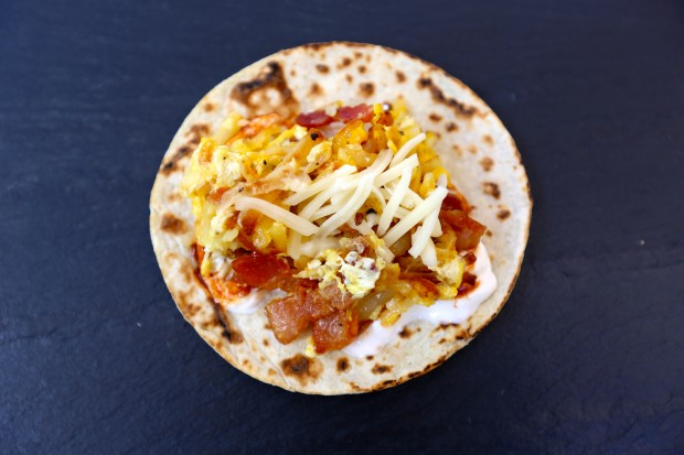 Egg, Hash Brown & Bacon Taco - the sam livecast