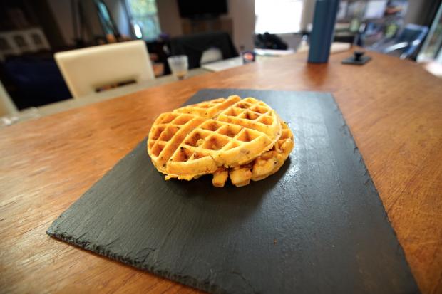 Cornbread & Bacon Waffles - the sam livecast